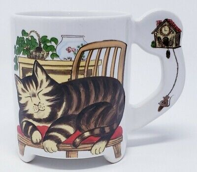 Sleeping Cat Ceramic Coffee Cup Lazy Striped Kitty Cuckoo Clock from Japan Vtg