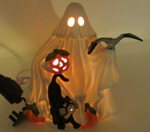 Vintage Freddie the Ghost Ceramic Halloween Decoration Light Up Cat 1991 WORKS!
