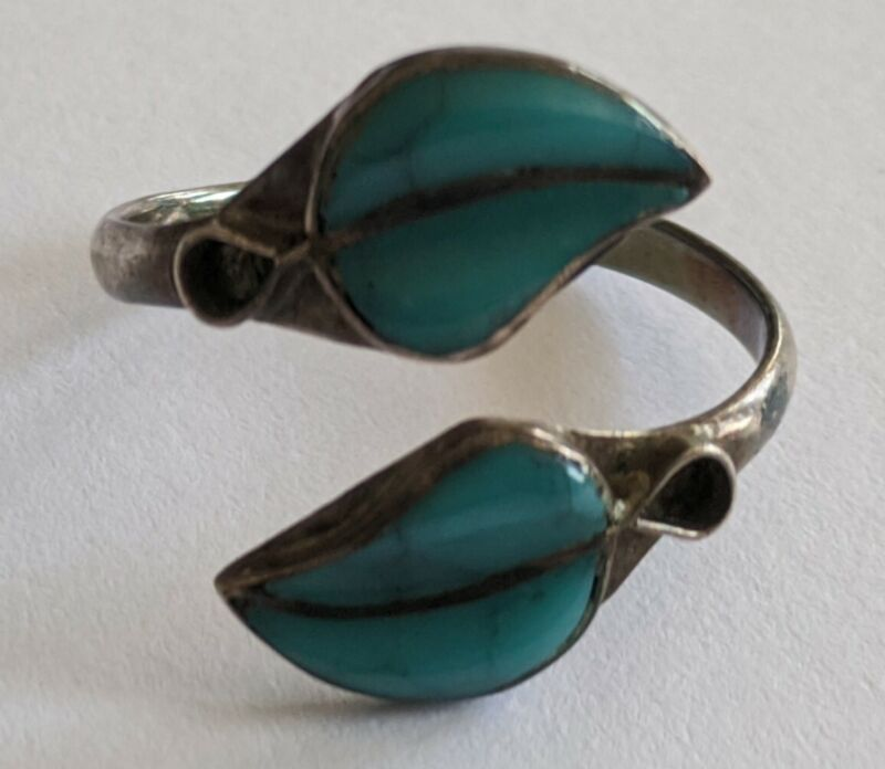 Vintage Mexico Sterling Turquoise Leaf Bypass Ring Size 6