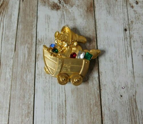 "Disney Store Snow White Dopey Mine Train W/ ""Gems"" Brooch Pin READ"