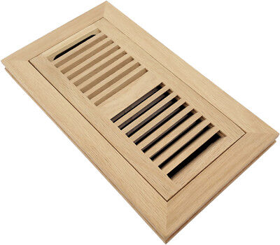Homewell Red Oak Wood Floor Register  Flush Mount Vent With Damper  4X10 Inch