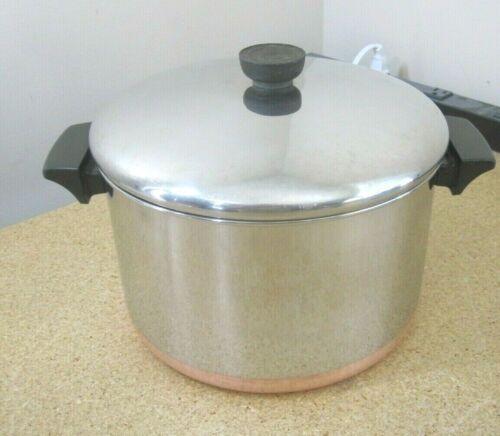 Revere Ware 6 Qt Stock Pot Stainless Steel Copper Clad w Lid Clinton ILL USA EUC