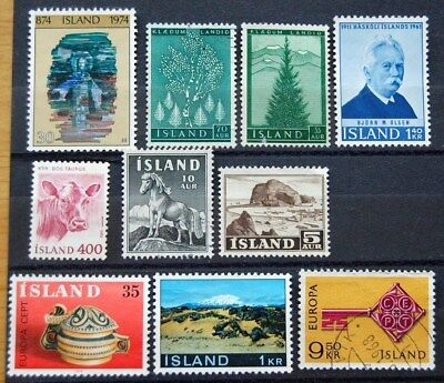 Small Collection Of Ten Iceland Mint & Used Stamps