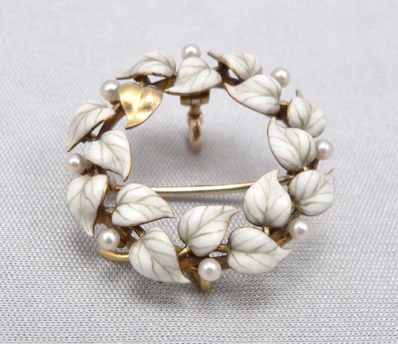 Vintage Antique 14K Gold Enamel Leaf Pearl Wreath Watch Pin Brooch Pendant 4.8g