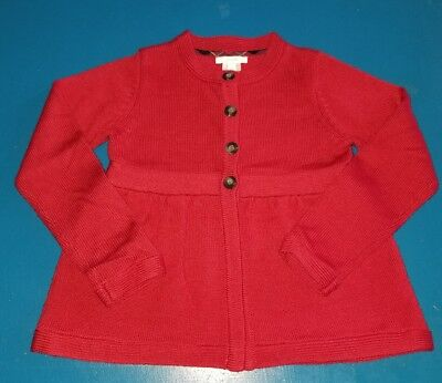 Jacadi kids girls sweater, cardigan size 8A, red, wool/cotton, buttons