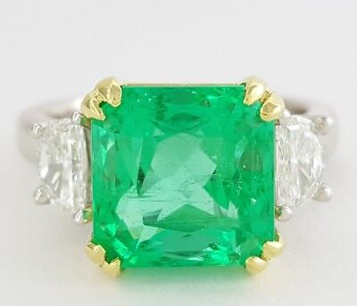 6.2 ct Platinum & 18K Colombian Green Emerald & Diamond Engagement Ring GIA $60k