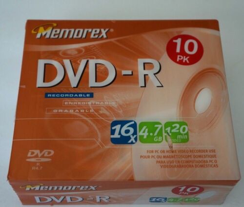 MEMOREX Brand NEW Factory Sealed 10 Pack DVD-R 16x 4.7 GB 120 Min + Slim Cases