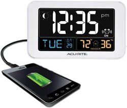 AcuRite Intelli-Time Alarm Clock with USB Charger, Indoor Temperature
