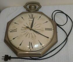 Vintage Mid Century United Wall Clock Works 1950s 1960s Starburst Atomic Metal