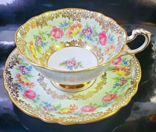 PARAGON Heavy Gold Rose Floral Teacup & Saucer Set Vintage Antique RARE England
