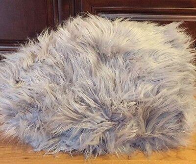 "NEW Pottery Barn Fur-Rific LARGE 41"" Beanbag Slipcover GRAY"