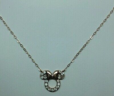 Child's Disney Twinkle White Topaz Minnie Mouse Necklace in 14K Rose Gold - 13