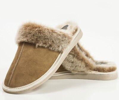 New Ladies Women Sheepskin Mule Slippers 100% Just Real Fur Wool sizes 3 4 5 6 7