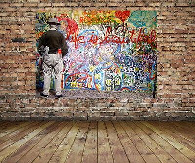 Mr Brainwash Graffiti Street Art  Canvas Print 24 x 18 Life is Beautiful Urban (Mr Brainwash Graffiti)