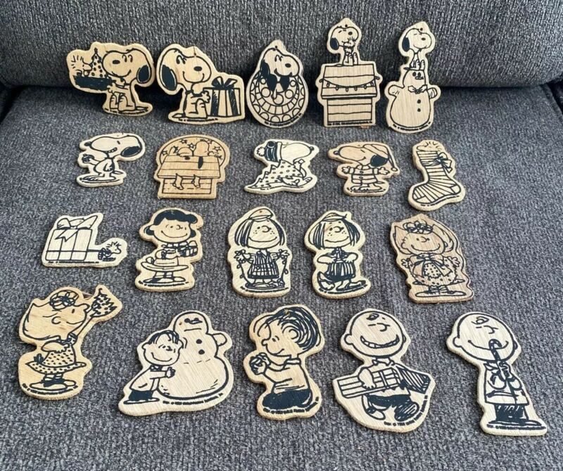 Lot #1- 20 Vintage Snoopy Peanuts Paint By Number Christmas Wood Ornaments ONLY