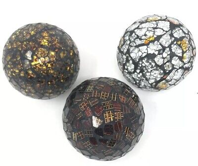 Silver Balls Decor (Set of  3 Gold Amber Silver Mosaic Glass Decorative Balls Home)