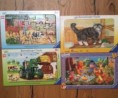 """Spielepaket: 4x Ravensburger Puzzle 15-teilig und Fädelspiel """"Zoo"""""""