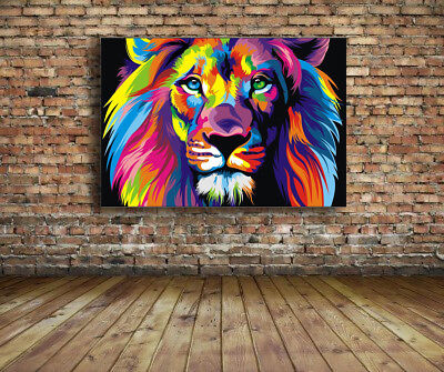 Banksy Rainbow Lion street art Graffiti  36 x 24 Canvas Print - New Print
