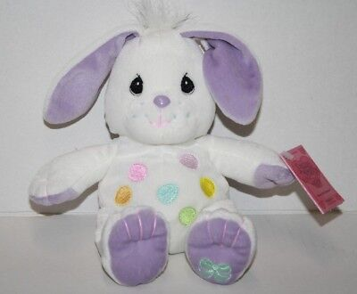 "Precious Moments Tender Tails EASTER BUNNY RABBIT 8"" Eggs Tummy Purple Ears New"