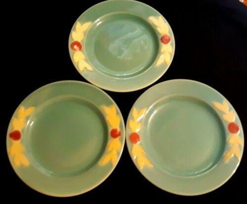 """Vintage Coors Pottery - Rosebud - Set of 3 Dessert Plates (6"""") - Green"""