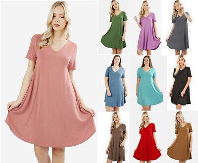 Plus Size Flowy T-Shirt Pocket Tunic Dress Casual Soft Knit V-Neck Short Sleeve