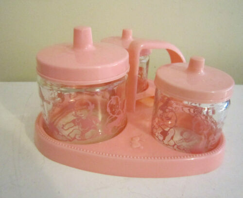 VINTAGE PINK AROUND THE CLOCK WITH BABY VANITY SET 3 JARS W/ LIDS AND CARRIER