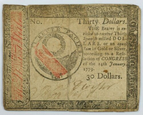 1779 Continental Currency Thirty Dollars Colonial Note $30 - CC-93