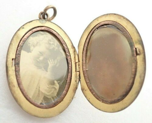 """Antique Gold Filled 1 1/2"""" Oval JMF Picture Photo Locket Necklace Pendant"""