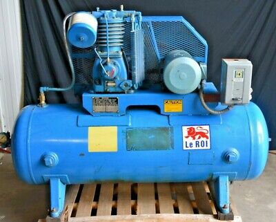100 Gallon 3 Phase Leroi Dresser Series 5000 Air Compressor  5 Horse Motor