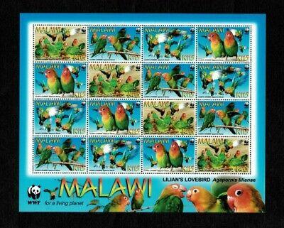 MODERN GEMS - Malawi - 2009 - WWF Lilian's Lovebird - Sheet of Stamps - MNH