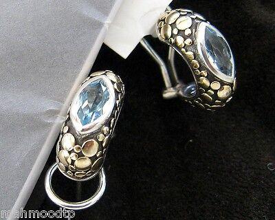 John Hardy Earrings 18k Gold, 925 Sterling Silver, Blue Topaz In Original Pouch