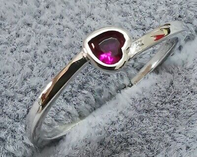 Pandora RIng 199267C01 Red Tilted Heart Solitaire Ring SIZE 56 S925 ALE