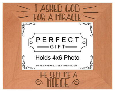 Uncle Aunt Gifts I Asked God for A Miracle Niece Picture Laser Engraved -