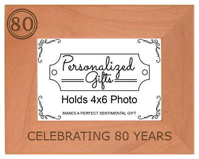 80th Birthday Gift Celebrating 80 Years Engraved Natural Wood - 80 Years Birthday Celebration