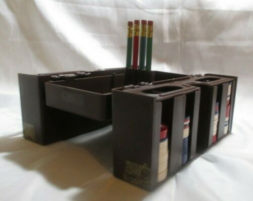 Inside-Outer Poker Chip Caddy Brown Plastic Foldable. USED. Rare Made In USA
