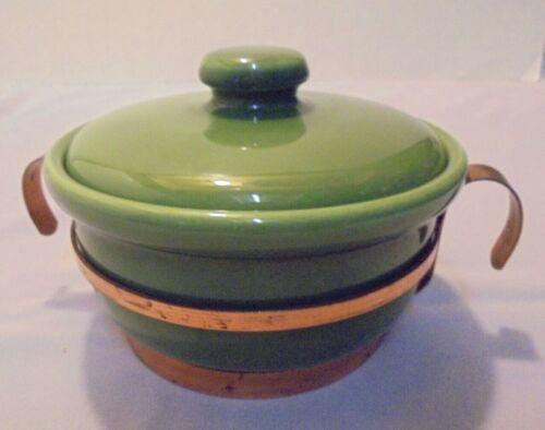 BAUER Pottery, Dark Green Individual Casserole w/Lid, Copper Holder, Vintage