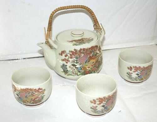 VINTAGE ASIAN TEA POT & CUPS SET- DESIGN  MAKER SYMBOLS ON EACH PIECE-