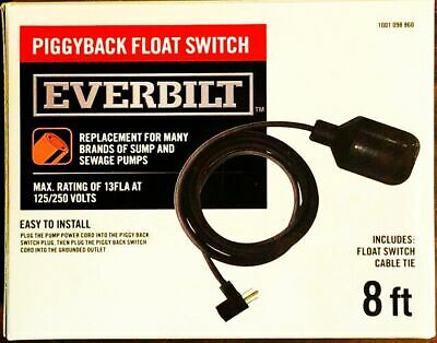 Piggyback Float Switch W 8 Ft Cord New Fits Many Everbilt 1001 098 860 Ebfswpb