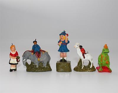 5x alte Figur Masse Gips mit Öse, Frosch, Elefant etc,   #F746
