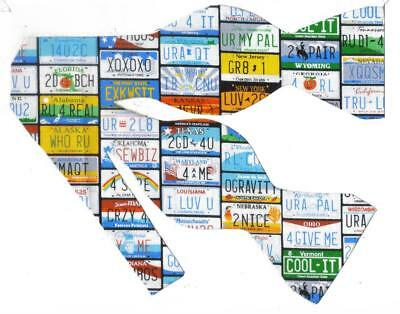 (Travel Bow tie / US State License Plates / Funny Phrases / Self-tie Bow tie)