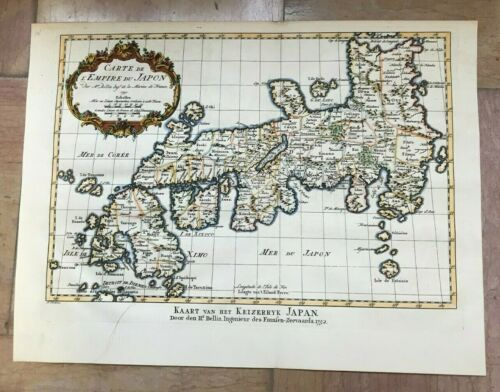 JAPAN 1752 by NICOLAS BELLIN NICE ANTIQUE ENGRAVED MAP 18TH CENTURY