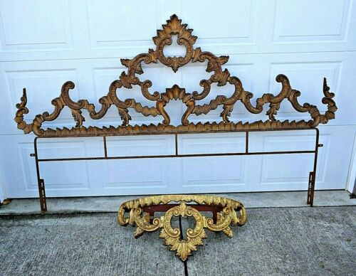 Vintage Hollywood Regency Rococo Style Gold Metal KING HEADBOARD & WALL CANOPY