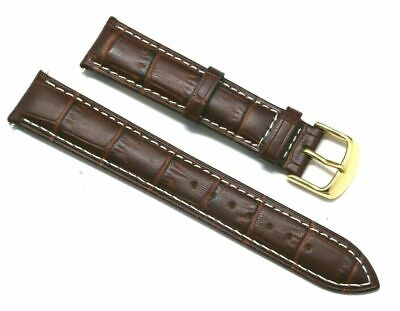 18mm Brown Croco Embossed Leather Contrast Stitch Watch Strap Gold Buckle   Croco Embossed Leather Strap