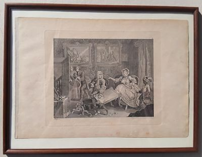 W. HOGARTH: A HARLOT'S PROGRESS Plate 2, Kupfer, gerahmt um 1800, Riepenhausen