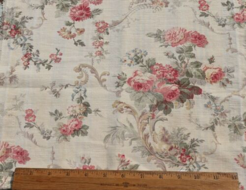 "French Antique c1880 Roses & Scrolls Cotton Home Dec Fabric~L-27""X W-15"""