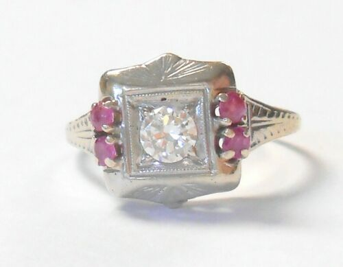 Art Deco 14K White Gold VS2 .25ct Diamond & Ruby Ring Size 6.75 Signed