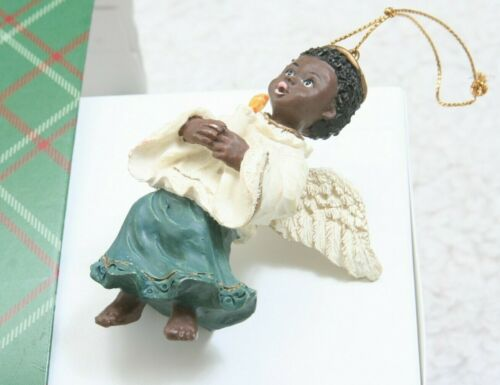 Black African American Angel Christmas Tree Ornament Holding Candle Holiday Box