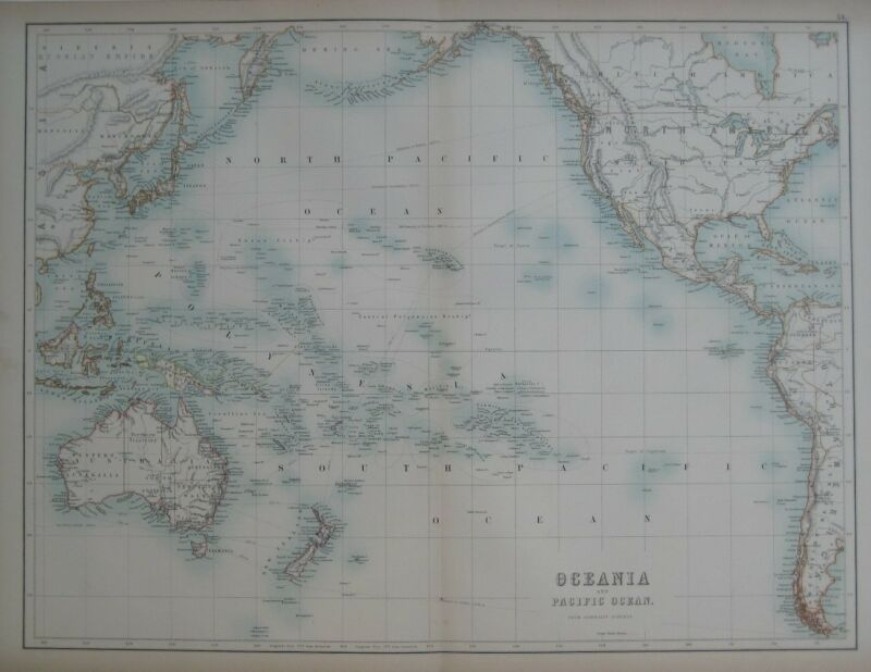 Original 1890 Map OCEANIA & PACIFIC OCEAN from Admiralty Surveys Hawaii Tasmania