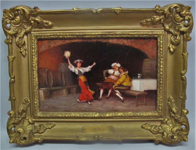 Very Fine Spanish Martin Rico Y Ortega Oil Painting Of Dancer  C. 1870   Antique