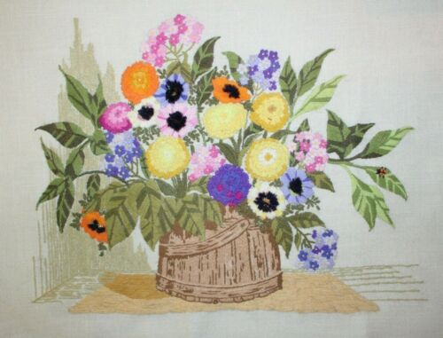 """""""Bright in a Corner"""" Flowers by Paragon Crewel Embroidery Completed Finished"""